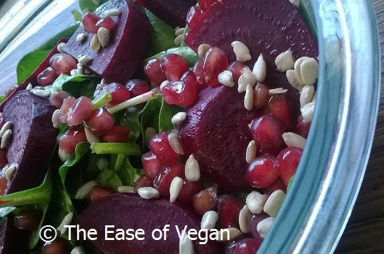Spinach Beet and Pomegranate Citrus Salad