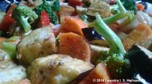 Chopped and seasoned mixed vegetables ready for roasting