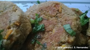 Ground Split Pea and Oat Vegetable Burger patty - Serve and enjoy!